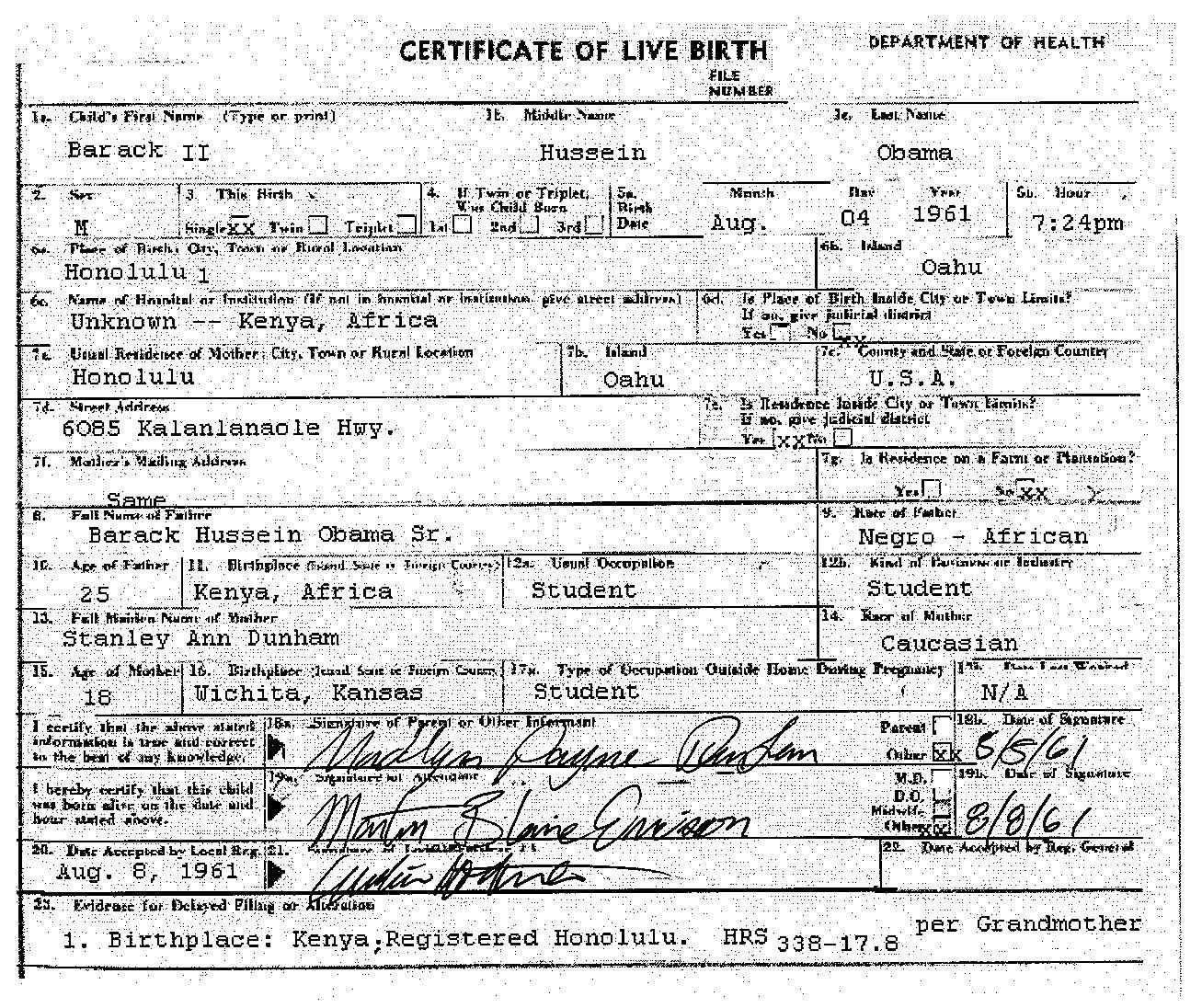 Obamas official birth certificate is a fake president obama click for full size obama fake birth certificate 1betcityfo Choice Image